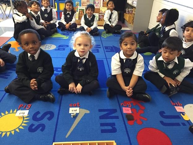 Kindergarten Montessori schools learning about letter sounds at Rowntree Montessori Schools private school in Brampton