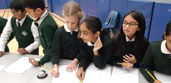 Students at Rowntree Montessori Schools private chool solving math problems during the 2018 Math Bowl Competition
