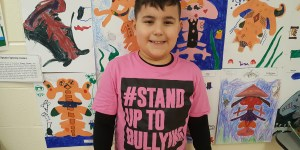 Student wearing shirt to support anti-bullying Pink Day at Rowntree Montessori Schools Brampton private school