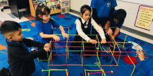 Prep-ONE (SK) students solving a problem together at Rowntree Montessori Schools