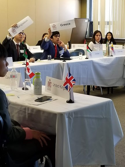 Students from Rowntree Montessori Schools representing their countries at Model United Nations conference 2019.