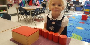 Student using Montessori materials at private school in Brampton.