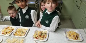 Private School kindergarten students cooking