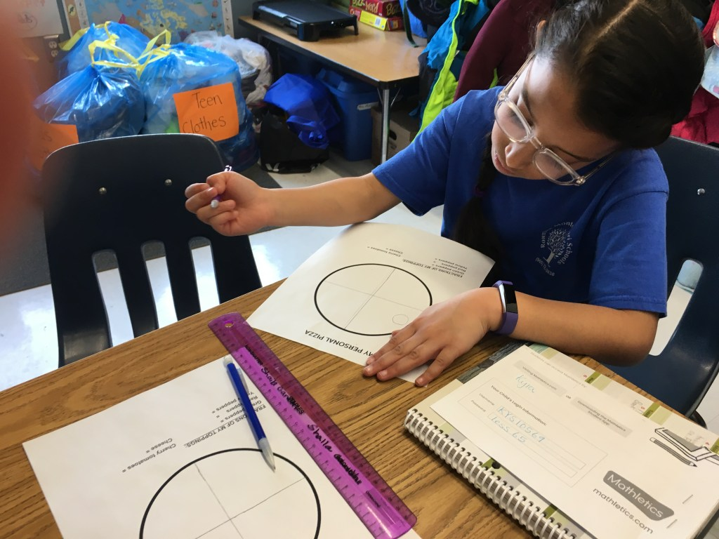 A female student working on fractions using an imaginary pizza