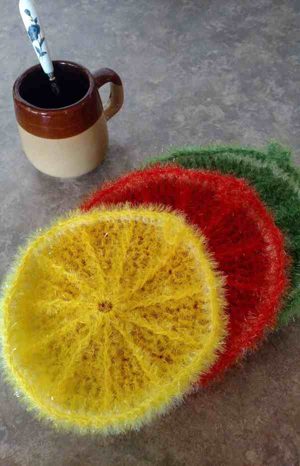handmade crochet kitchen citrus scrubbies