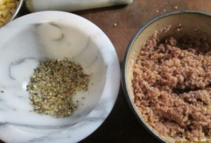 ground pepper w wine soaked bread crumbs