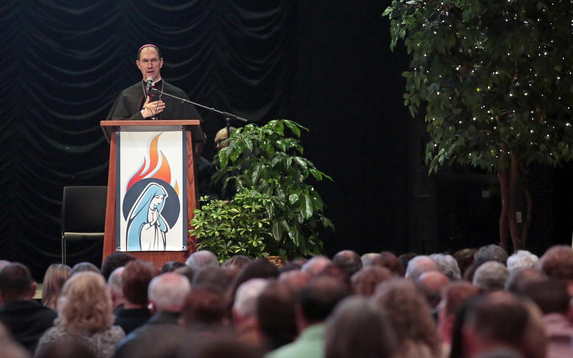Bishop John Folda speaks during the Convocation of Parish Leaders on Friday, Nov. 30, 2018, at the Avalon Events Center in Fargo. David Samson / The Forum