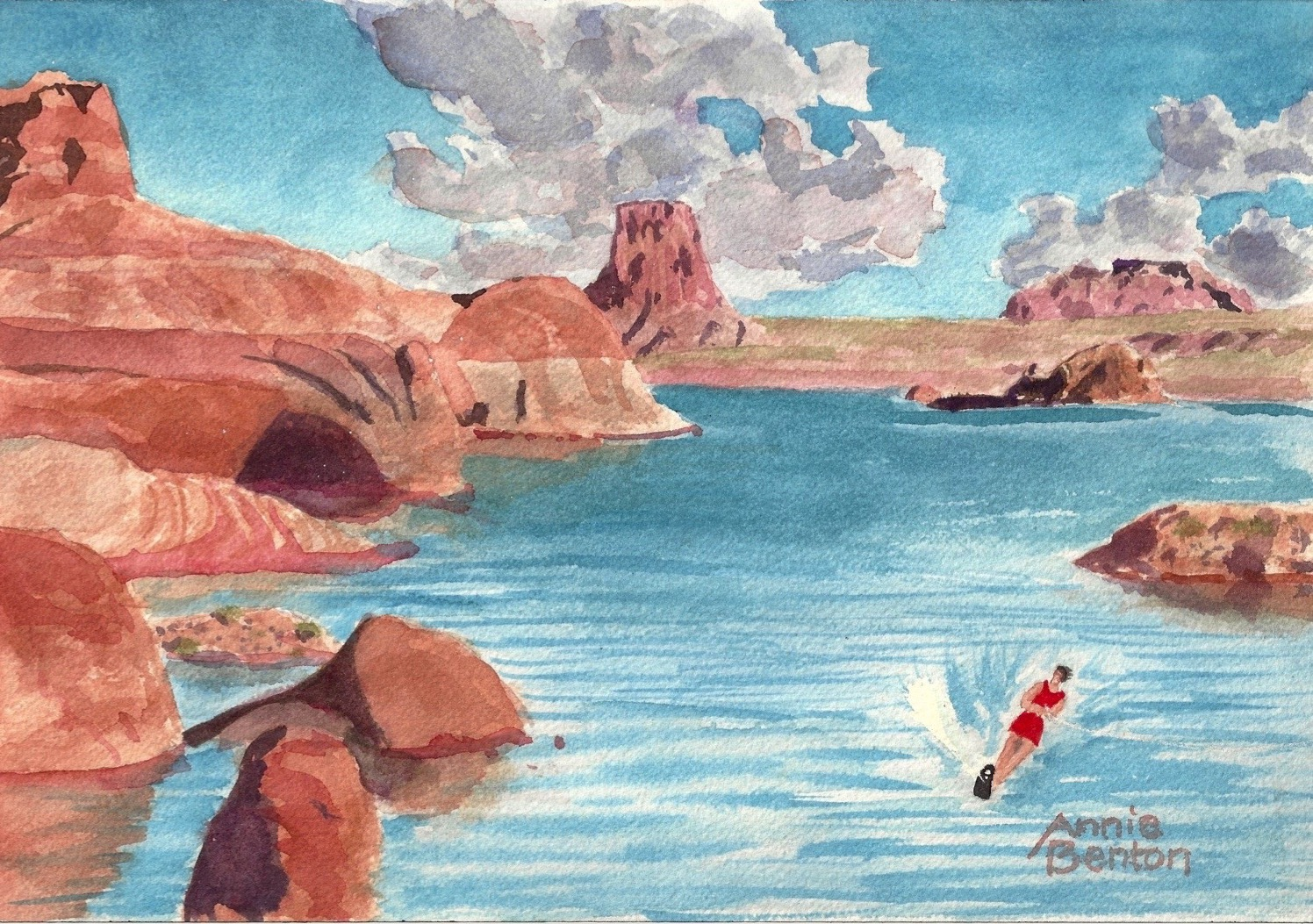 Roxanne Darling, Lake Powell Splash, watercolor, 10x7