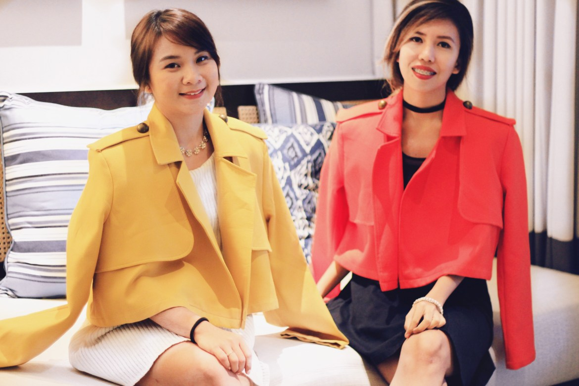 Roxanne Lacap and Claudine Chua trying Rajo Laurel's peices