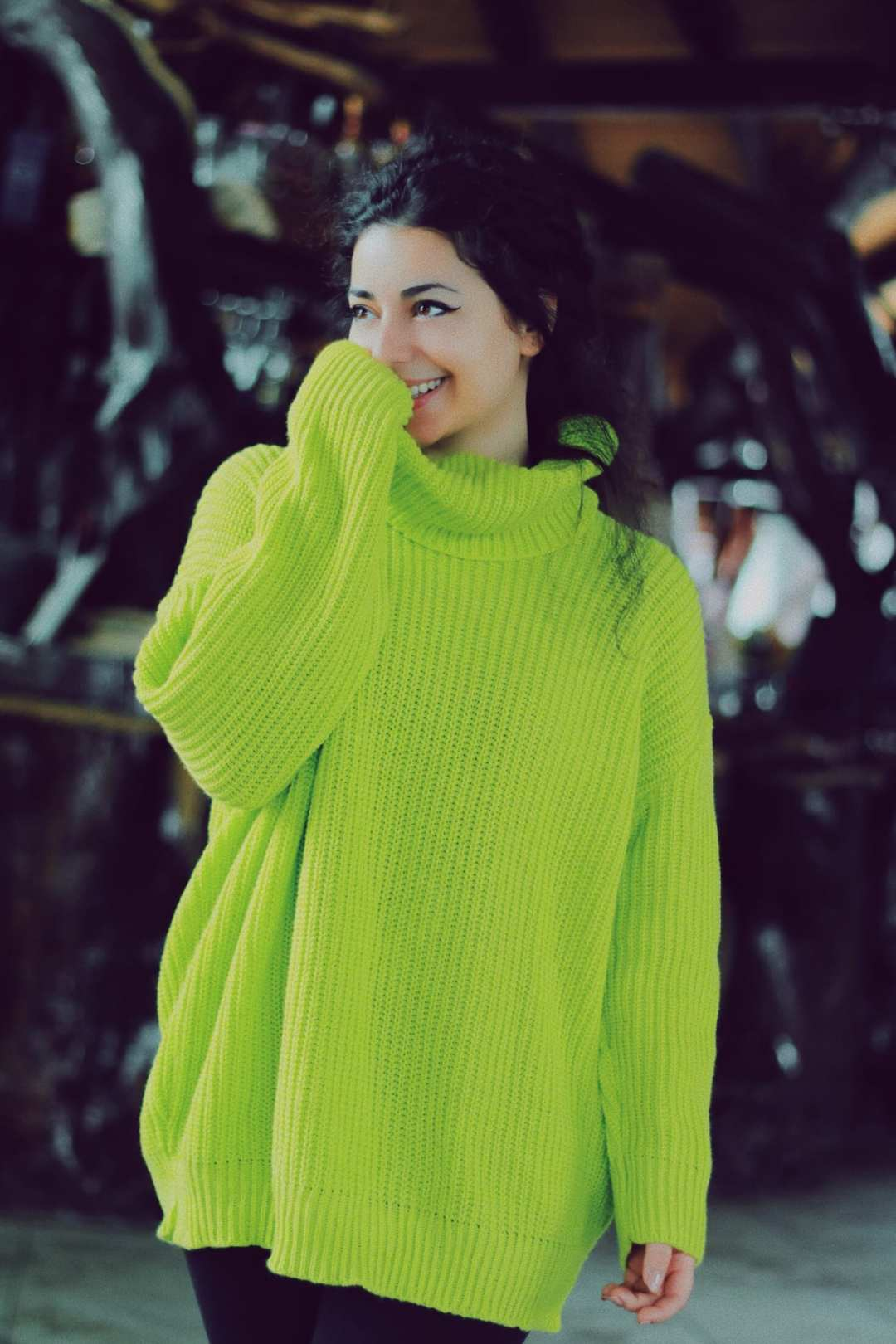 Neon Lime Knitted Oversized Polo Neck Jumper - Polly