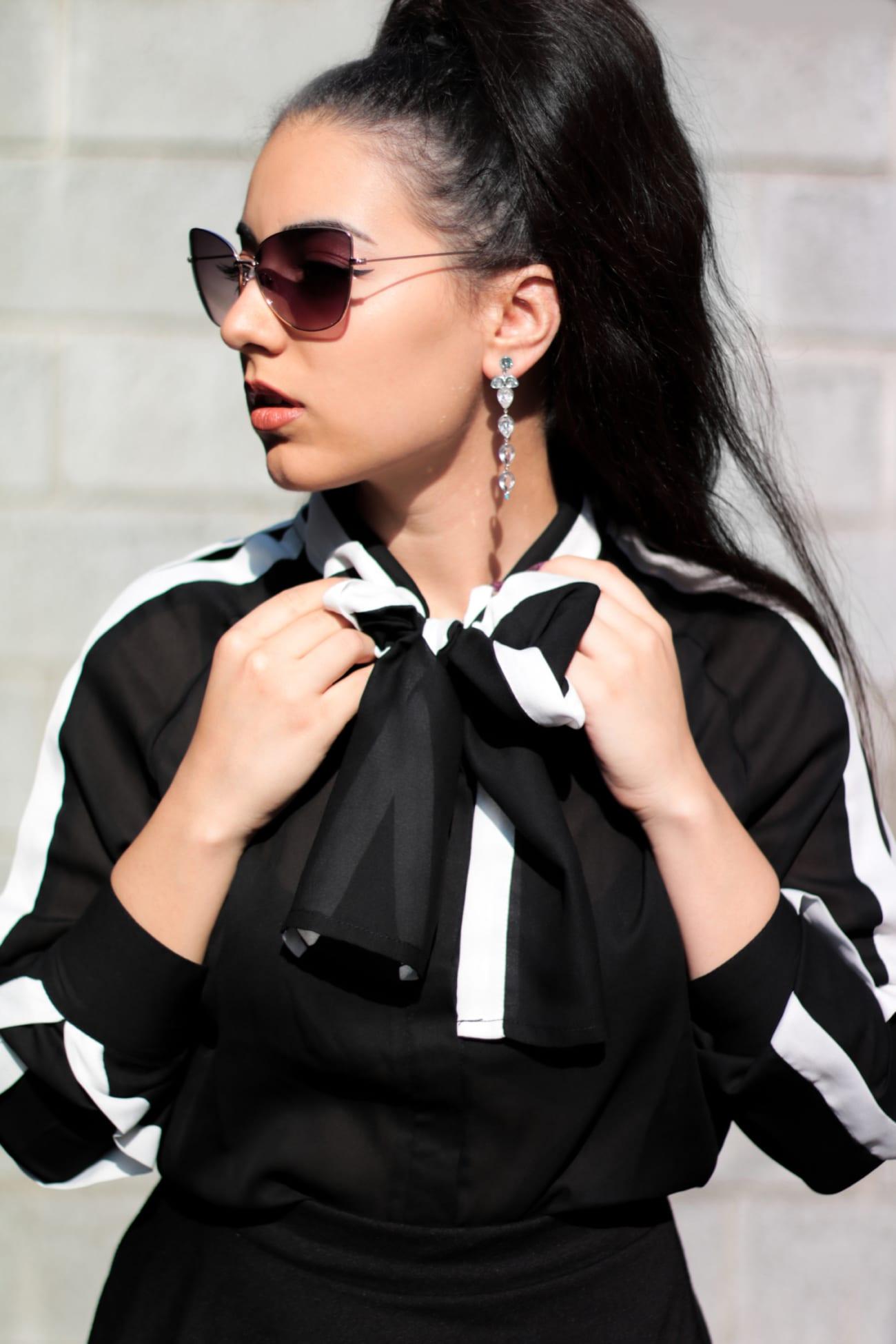black white shirt camasa alb negru fontita bufanta ieftina online fashion blog outfit camasa eleganta roxi rose (7)