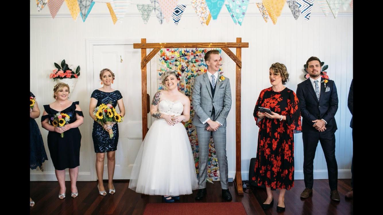 Brisbane Celebrant Roxy delivering wedding ceremony