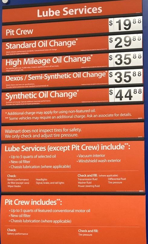 Walmart Oil Change Prices 2020 Walmart Auto Center Prices
