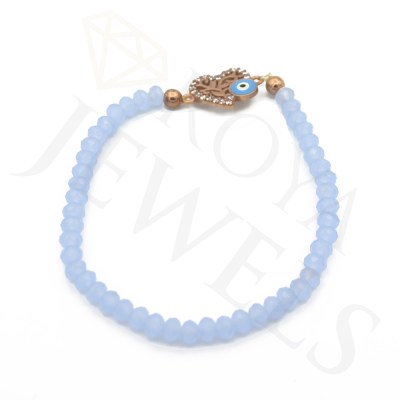 Evil Eye Heart Bracelet Pale Blue Cubic Zirconia