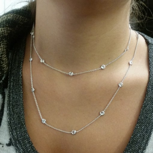 CZ by the Yard Station Necklace Zirconia sterling silver- Roya Jewels