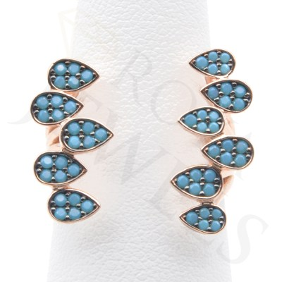 Turquoise Teardrops Open Ring Rose Gold Sterling Silver