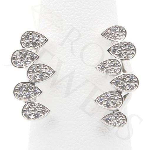 White Teardrops Open Ring Sterling Silver