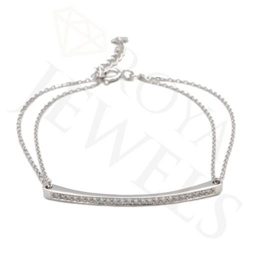 Pave Bar Doublé Chain Bracelet Silver Bracelet Roya Jewels
