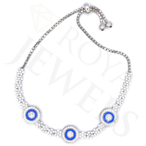 Triple Evil Eye Cluster Bracelet Silver Bracelet Roya Jewels