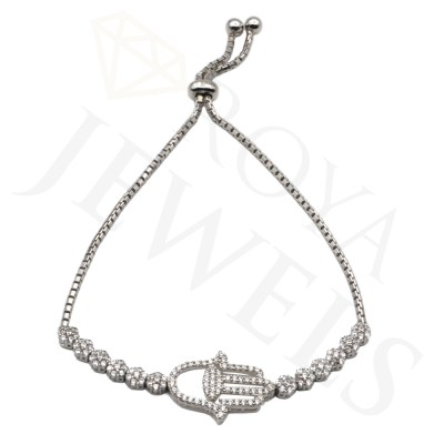 Hamsa Cluster Bracelet Necklace Silver Hamsa Roya Jewels