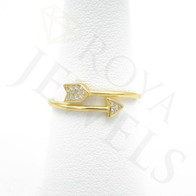 Adjustable Arrow Ring with Stone Adjustable Small Arrow Ring with Cubic Zirconia 14k Gold Plated