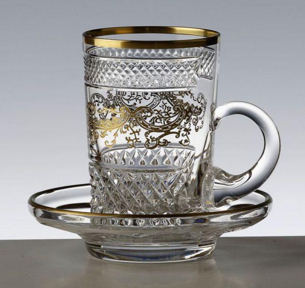 Tasse thé large Séville Nora Or - Cristal de Paris