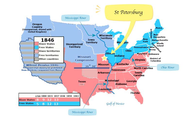 St Petersburg, slave states, free states, huckleberry finn, ハックルベリー・フィン