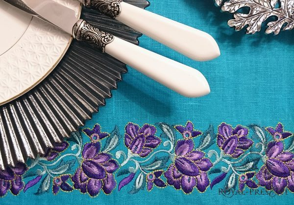 Дизайн машинной вышивки Пурпурный Цветочный бордюр