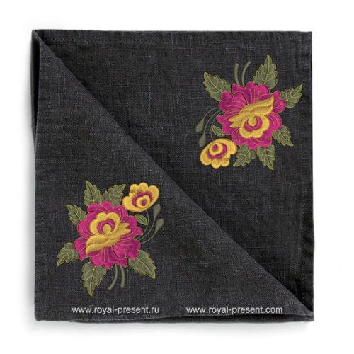 Дизайн машинной вышивки бесплатно Абстрактный букетик роз