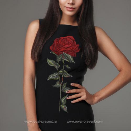 Дизайн машинной вышивки Высокая красная Роза - 3 размера