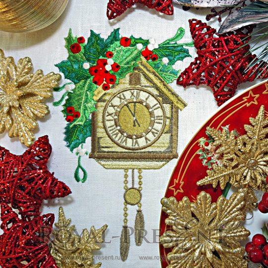 Дизайн машинной вышивки Рождественские часы с кукушкой