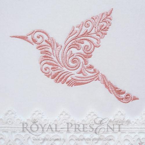 Дизайн машинной вышивки Орнаментальная птичка