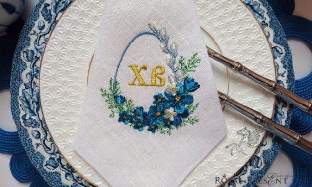 Дизайн машинной вышивки Пасхальное обрамление для монограммы