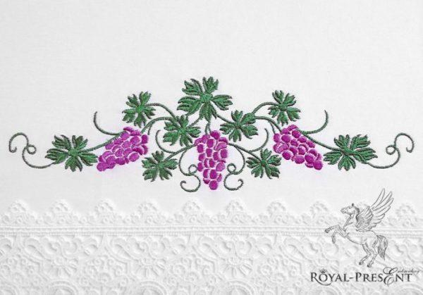 Дизайн машинной вышивки Виноградный бордюр