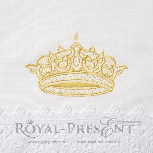 Дизайн машинной вышивки Изящная Золотая Корона