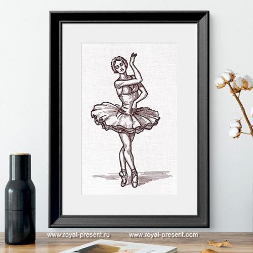 Дизайн машинной вышивки Балерина из Лебединого Озера
