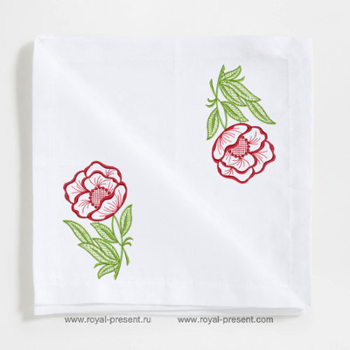 Дизайн для машинной вышивки бесплатно Цветок мака