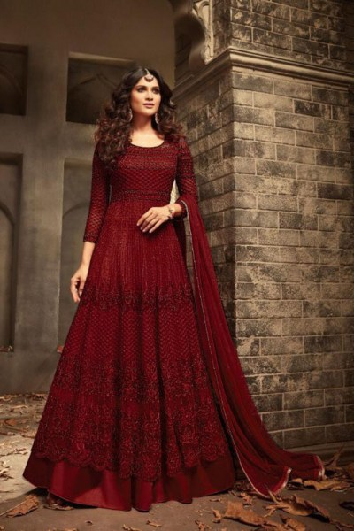maroon-color-heavy-net-with-embroidery-sequence-stone-work-wedding-suit