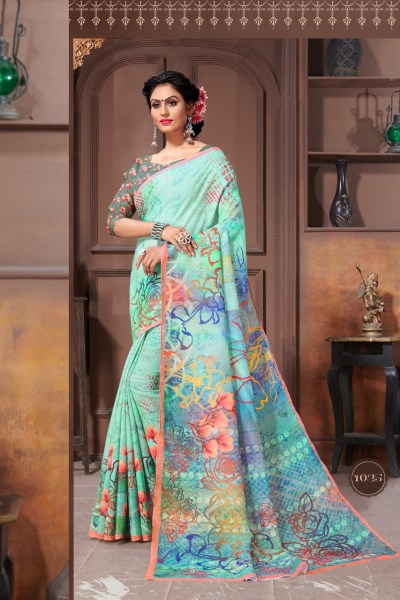 special-multi-color-linen-designer-digital-print-saree