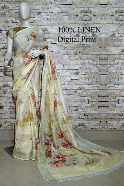 Timeless Multi Color Linen Designer Digital Print Saree 2