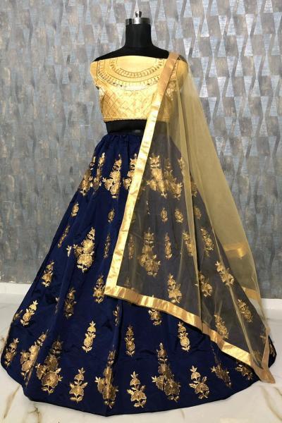mesmerizing-navy-blue-color-taffeta-silk-zari-embroidered-work-lehenga