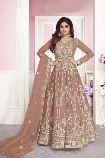 harmonious-peach-color-heavy-net-with-chain-stitch-stone-work-anarkali-suit