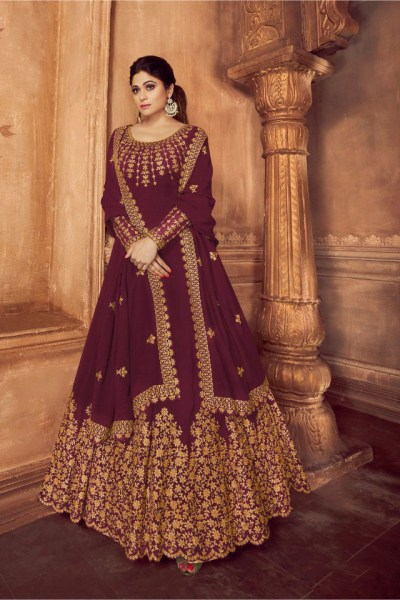 ashirwad-wine-color-georgette-with-embroidery-work-anarkali-suit