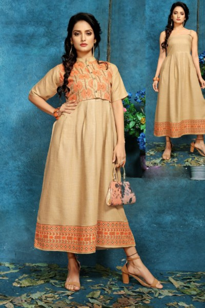 cream-color-two-tone-high-quality-rayon-with-foil-print-kurti-with-jacket