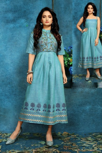 sky-blue-color-two-tone-high-quality-rayon-with-foil-print-kurti-with-jacket