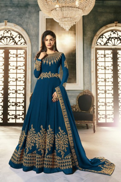 special-peacock-blue-color-pure-georgette-with-cording-stone-work-anarkali-suit