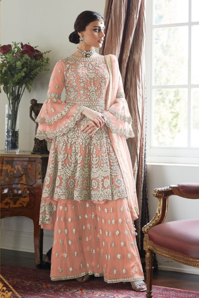 magnificent-orange-color-butterfly-net-with-heavy-codding-wedding-wear-plazo-suit