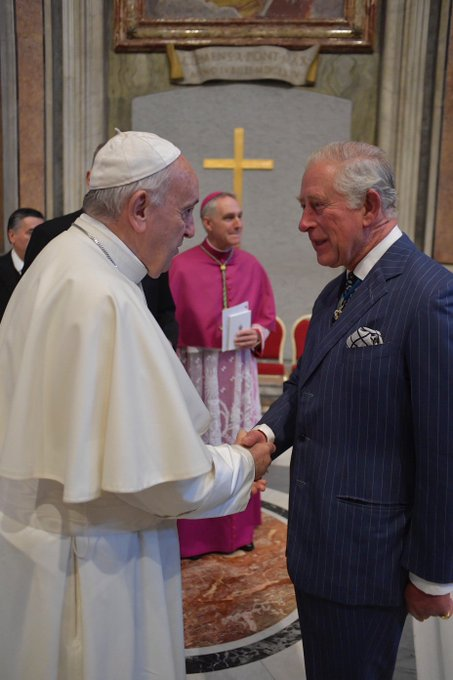 The Prince of Wales meets Pope Francis at Vatican celebration