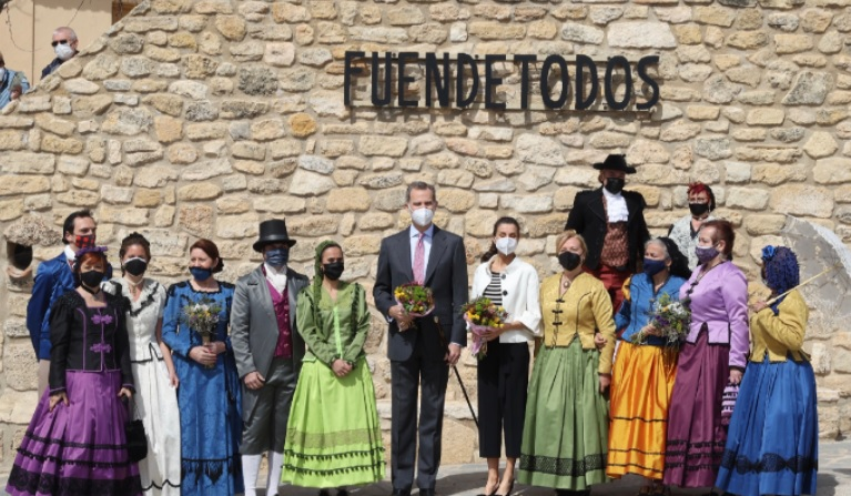 King Felipe and Queen Letizia with residents of Fuendetodos in Aragon