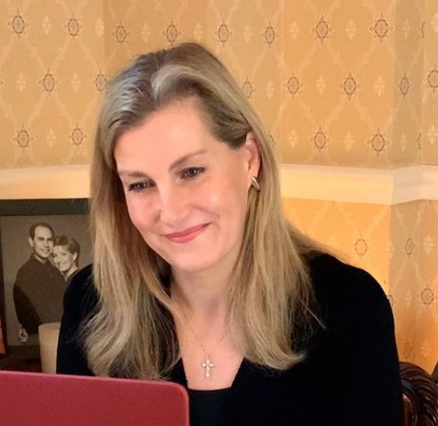 The Countess of Wessex makes a video call